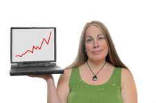 Woman Holding Laptop With Graph Royalty Free Stock Photos