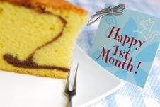 Slice Of Butter Cake And Card Royalty Free Stock Photography