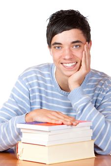 Free Happy Smiling Male Student On Desk With Books Stock Photos - 14459663
