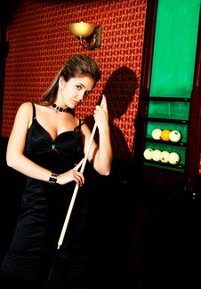 Free Woman Playing Billiard Royalty Free Stock Photo - 14460265