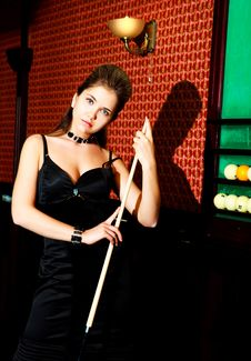 Free Woman Playing Billiard Stock Photo - 14460410