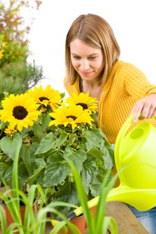 Free Gardening - Woman Pouring Flowers Royalty Free Stock Image - 14460546