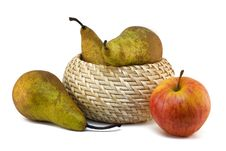 Free Pears And An Apple On A White Background Stock Image - 14460601