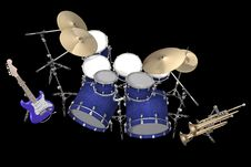 Drum Kit Guitar And Trumpet Isolated On A Black Stock Photos