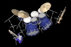 Drum Kit Guitar And Trumpet Isolated On A Black Royalty Free Stock Photo