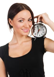 Free Beautiful Young Woman With Vintage Alarm Clock Stock Images - 14461044