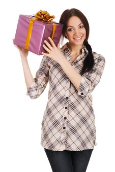 Free Beautiful Young Woman With A Gift Box Royalty Free Stock Photo - 14461055