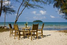 Free Table And Chairs On The Beach Stock Images - 14461484