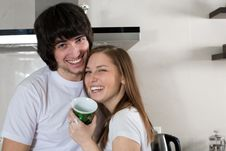 Free Boy And Girl With Cup Stock Images - 14461494