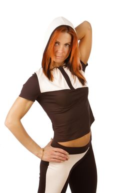 Ginger Athlete Is Posing Stock Images