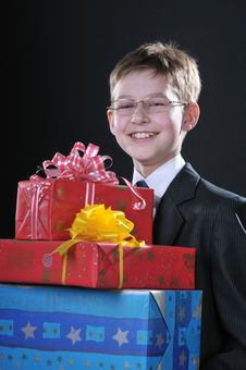 Free Boy With Gifts Royalty Free Stock Image - 14461906