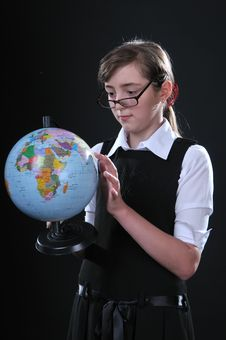 Free Schoolgirl And Globe Royalty Free Stock Photo - 14461955
