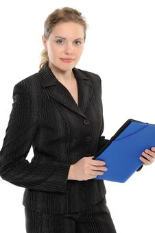 Free Young Businesswoman Holding A Folder Stock Photography - 14463692