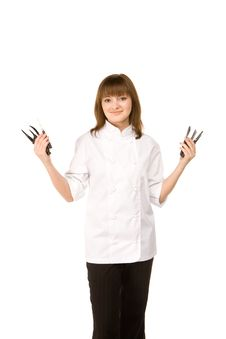 Free Cook Girl Holding Many Knife Royalty Free Stock Image - 14464166