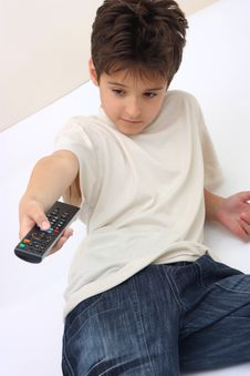 Free A Boy With A Remote Stock Photography - 14464242