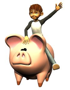 Kid Boy On The Pig Bank Royalty Free Stock Image