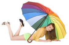 Free Young Lady Posing With Color Umbrella Royalty Free Stock Photography - 14465507