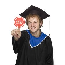 Graduate Pushing Go Stock Photography