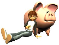 Free Kid Boy Savings And Pig Bank Stock Image - 14465731