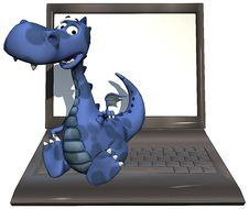 Free Baby Dragon Blue On Laptop Royalty Free Stock Photos - 14465848