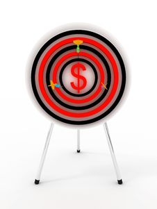 Free Dartboard Dollar With Darts. 3D Stock Images - 14466164