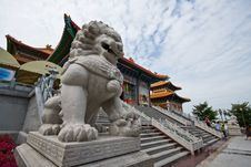 Chinese Lion Front Of Baromraja Temple Thailand