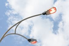 Free Shining Street Lamp Over Blue Sky Royalty Free Stock Photography - 14467177