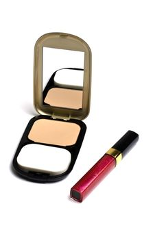 Powder Compact And Lip Gloss Stock Photo