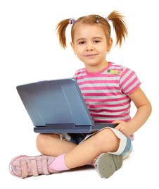 Free Little Funny Girl With Laptop Stock Images - 14468814