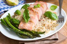 Salmon With Rice And Asparagus Stock Photos