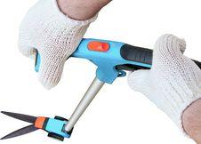 Man S Hands And Long Garden Scissors Stock Image