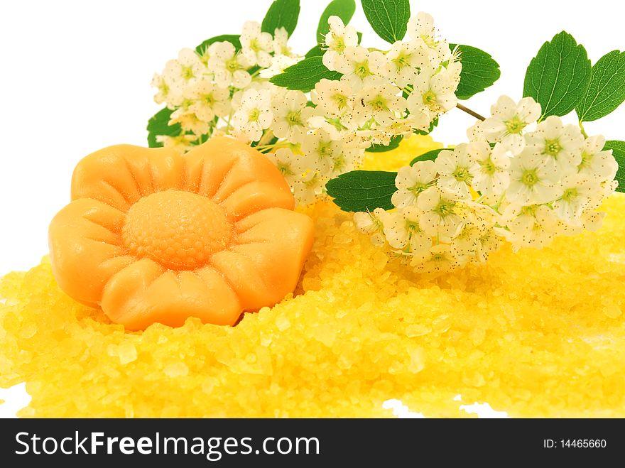 Flower soap over bath salt