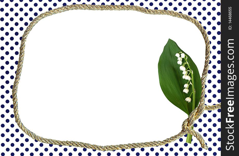 Dotted frame with lily of valley