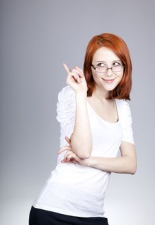 Free Smiling Red-haired Businesswoman In Sunglasses Stock Photography - 14470252