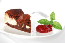Cheese-brownie With Raspberries Jam Stock Images