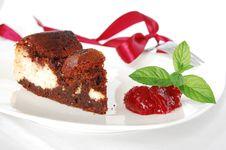 Cheese-brownie With Raspberries Jam Royalty Free Stock Photo