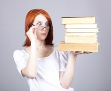Free Red-haired Businesswoman Keep Books Royalty Free Stock Image - 14470306