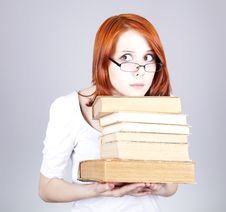 Free Red-haired Businesswoman Keep Books Stock Photography - 14470332