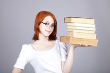 Free Red-haired Businesswoman Keep Books Stock Photos - 14470333