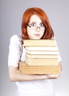 Free Red-haired Smiling Businesswoman  Keep Books Royalty Free Stock Photos - 14470358