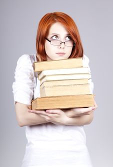 Free Red-haired Businesswoman Keep Books Royalty Free Stock Images - 14470379