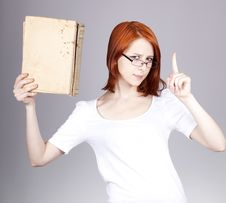 Free Red-haired Businesswoman  Keep Books Stock Photo - 14470380