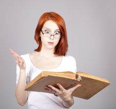 Free Red-haired Businesswoman  Keep Books Stock Images - 14470404