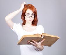Free Red-haired Businesswoman  Keep Books Royalty Free Stock Images - 14470409