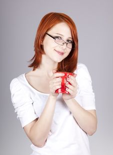 Free Red-haired Businesswoman  Keep Red Cup In Hand Royalty Free Stock Photos - 14470488