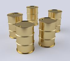 Free Gold Barrels Royalty Free Stock Image - 14470926