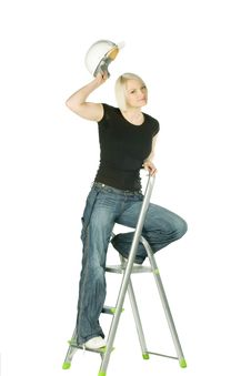 Free Woman With Helmet In Ladder Royalty Free Stock Image - 14470966