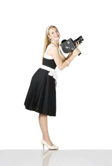 Free Girl With Film Camera Royalty Free Stock Photos - 14470978