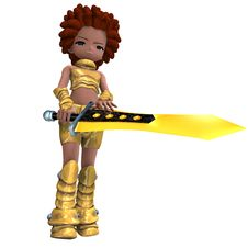 Free Female Fantasy Manga Knight As A Cartoon Guard. Stock Photography - 14471062