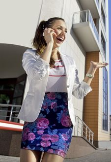 Free Happy Woman Speaks On Phone Stock Photo - 14471510